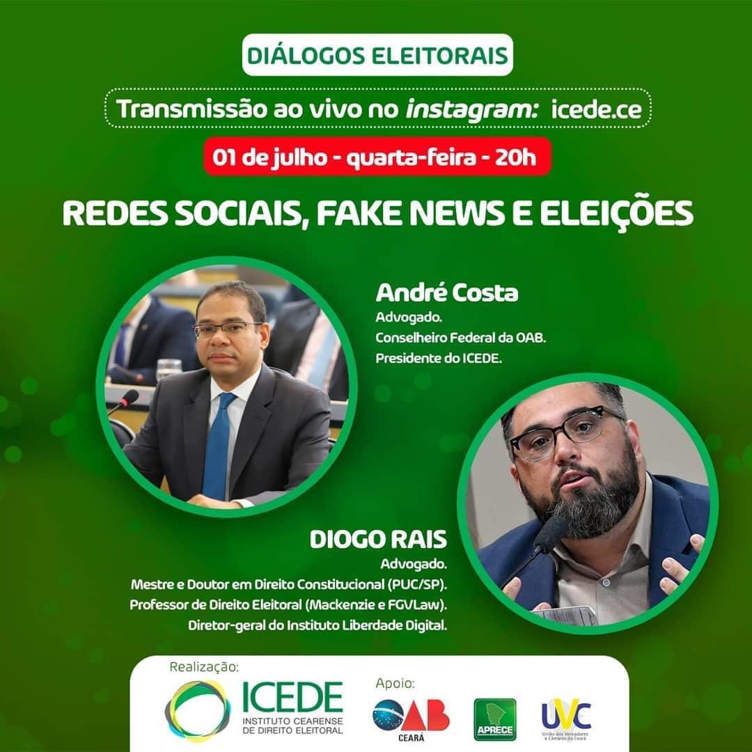 Live do ICEDE debate 'Redes sociais, fake news e eleições', nesta quarta