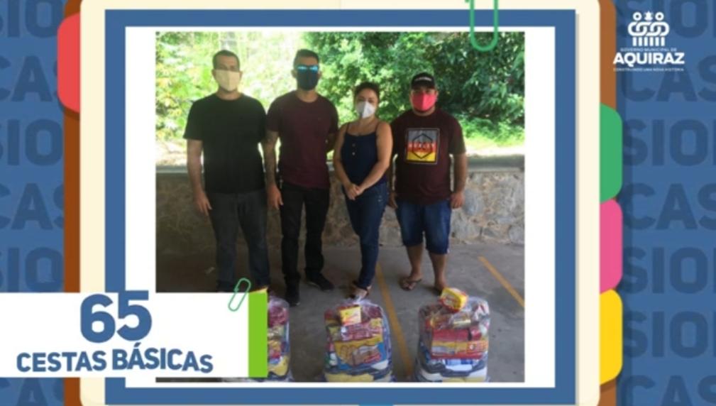 Prefeitura de Aquiraz distribui cestas básicas para motoristas e cobradores da Cooperativa de Transporte de Aquiraz