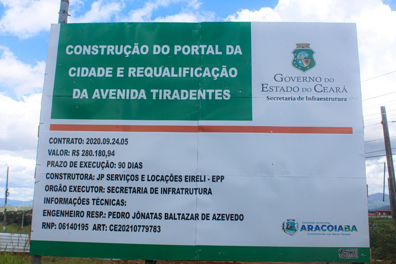 Prefeitura de Aracoiaba inicia construção do portal na entrada da cidade e requalificação da Avenida Tiradentes