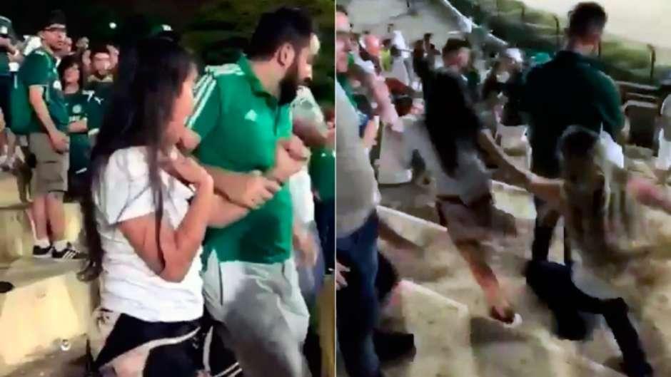 Corintiana é agredida após se infiltrar na torcida do Palmeiras, veja o vídeo