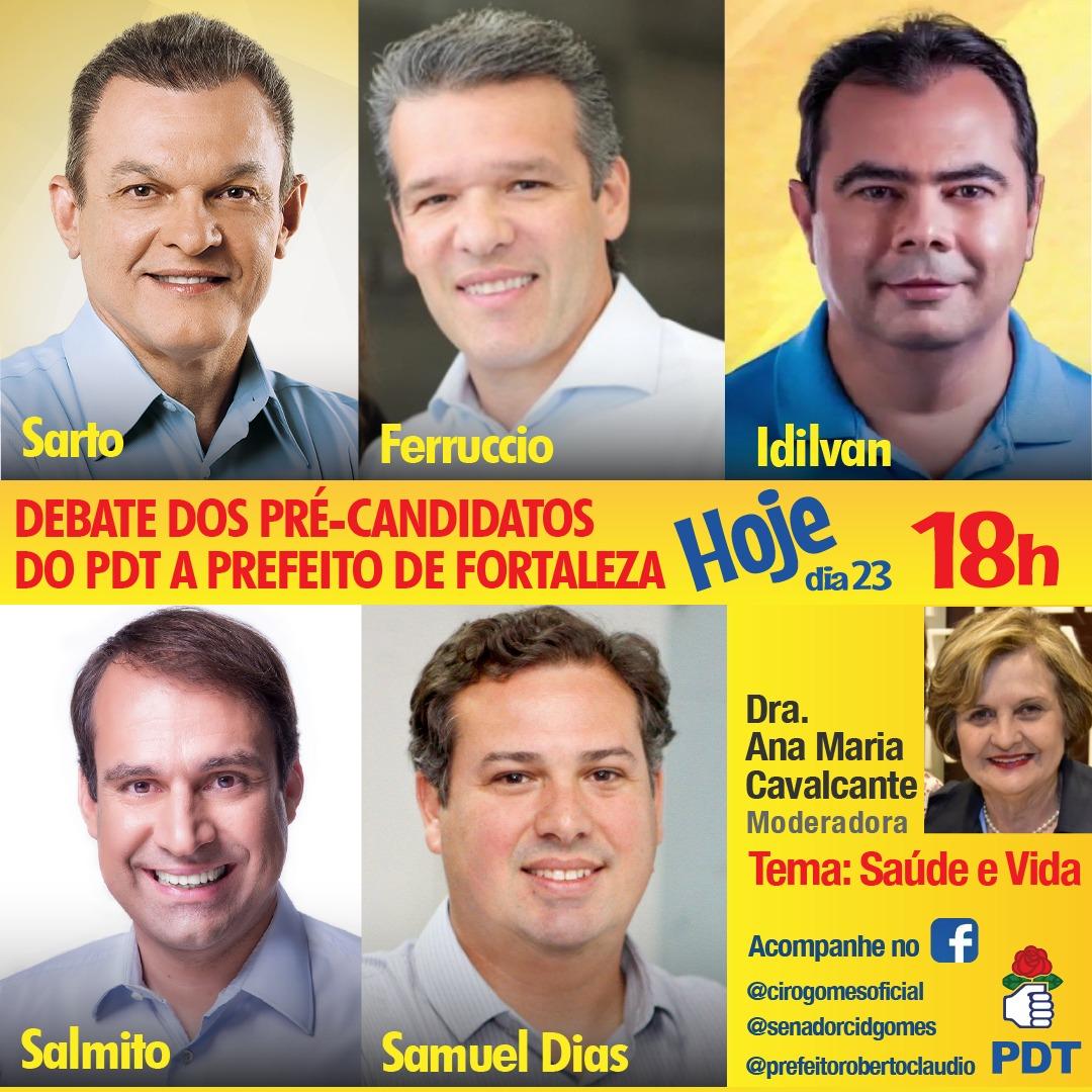 Debate dos pré-candidatos do PDT à Prefeitura de Fortaleza nesta quinta-feira, às 18 horas